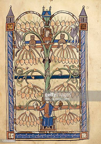 France Genealogical tree of the Virgin Mary miniature from the manuscript Speculum Virginae of the Abbey of SaintVaast