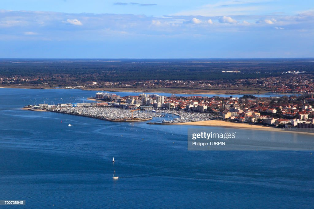 Oyster barge in Arcachon Bay, le Cap Ferret, department of Gironde ...