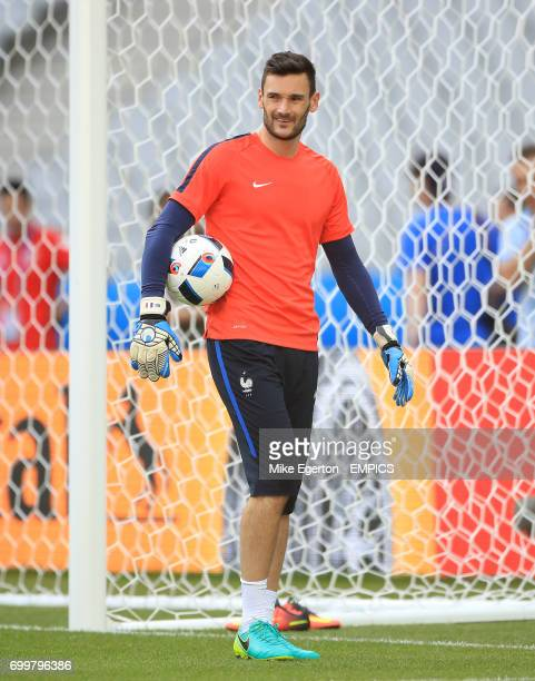 France goalkeeper Hugo Lloris during a training session at the Stade de France Paris before their game Euro 2016 Group A game against Romania on...
