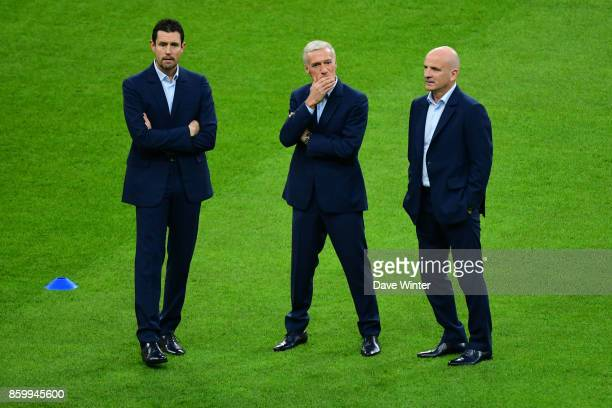 France goalkeeping coach Franck Raviot France coach Didier Deschamps and France assistant coach Guy Stephan before during the Fifa 2018 World Cup...