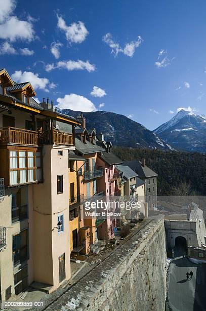France, Haute Savoie, Briancon, buildings built above town walls