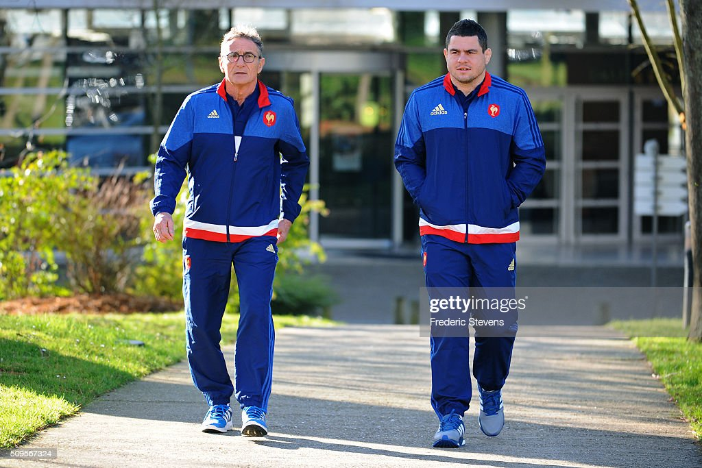 France head coach Guy Noves (L) and captain of France team Guilhem Guirado (R) arrive for a press conference at National Center of Rugby in Marcoussis, on February 18, 2016 in Paris, France. The press conference will announce the team members selected for France's Six Nations rugby match against Ireland in Paris on February 13.