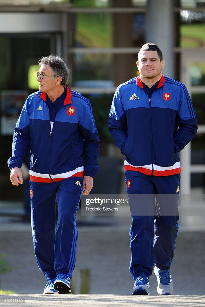 France head coach Guy Noves (L) and captain of France team <a gi-track='captionPersonalityLinkClicked' href=/galleries/search?phrase=Guilhem+Guirado&family=editorial&specificpeople=551032 ng-click='$event.stopPropagation()'>Guilhem Guirado</a> (R) arrive for a press conference at National Center of Rugby in Marcoussis, on February 18, 2016 in Paris, France. The press conference will announce the team members selected for France's Six Nations rugby match against Ireland in Paris on February 13.