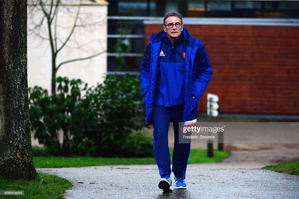 France head coach <a gi-track='captionPersonalityLinkClicked' href=/galleries/search?phrase=Guy+Noves&family=editorial&specificpeople=576406 ng-click='$event.stopPropagation()'>Guy Noves</a> arrives for a training session at National center of rugby ahead of their Six Nations match against Ireland, on February 9, 2016 in Marcoussis, Paris, France.
