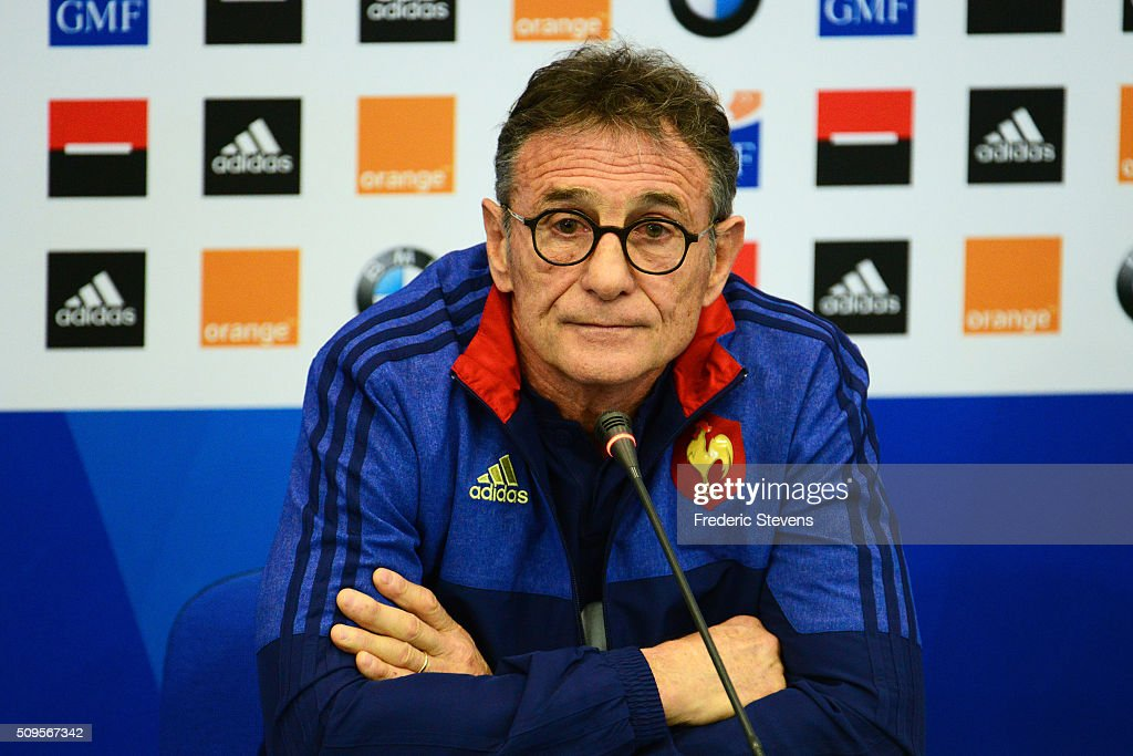 France head coach Guy Noves during a press conference at National Center of Rugby in Marcoussis, on February 18, 2016 in Paris, France. The press conference will announce the team members selected for France's Six Nations rugby match against Ireland in Paris on February 13.