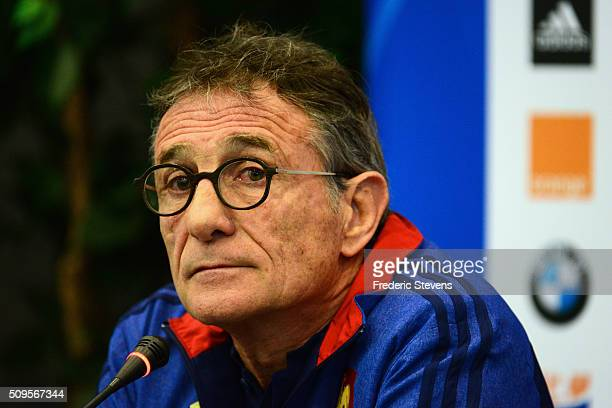 France head coach Guy Noves during a press conference at National Center of Rugby in Marcoussis on February 18 2016 in Paris France The press...