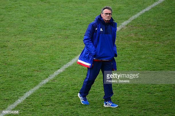 France head coach Guy Noves during a training session at National center of rugby ahead of their Six Nations match against Ireland on February 9 2016...