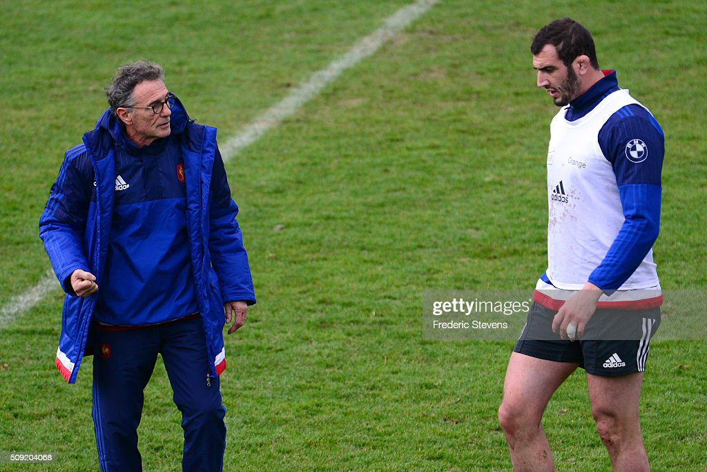 France head coach <a gi-track='captionPersonalityLinkClicked' href=/galleries/search?phrase=Guy+Noves&family=editorial&specificpeople=576406 ng-click='$event.stopPropagation()'>Guy Noves</a> speak with <a gi-track='captionPersonalityLinkClicked' href=/galleries/search?phrase=Yoann+Maestri&family=editorial&specificpeople=6704761 ng-click='$event.stopPropagation()'>Yoann Maestri</a> during a training session at National center of rugby ahead of their Six Nations match against Ireland, on February 9, 2016 in Marcoussis, Paris, France.