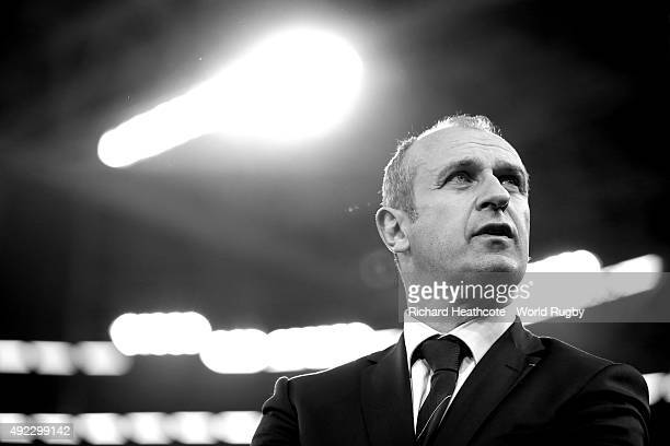 France head coach Phillipe SaintAndre looks on before during the 2015 Rugby World Cup Pool D match between France and Ireland at Millennium Stadium...
