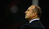 France head coach Phillipe SaintAndre looks on before the 2015 Rugby World Cup Pool D match between France and Ireland at Millennium Stadium on...