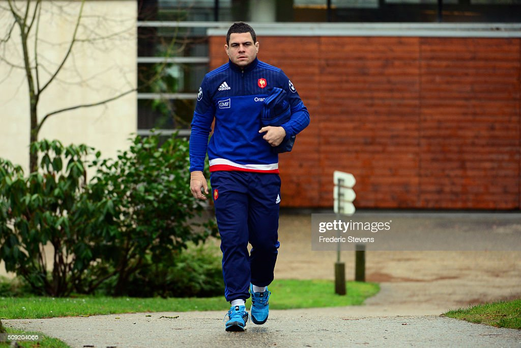 France hooker and captain <a gi-track='captionPersonalityLinkClicked' href=/galleries/search?phrase=Guilhem+Guirado&family=editorial&specificpeople=551032 ng-click='$event.stopPropagation()'>Guilhem Guirado</a> arrives for a training session at National center of rugby ahead of their Six Nations match against Ireland, on February 9, 2016 in Marcoussis, Paris, France.