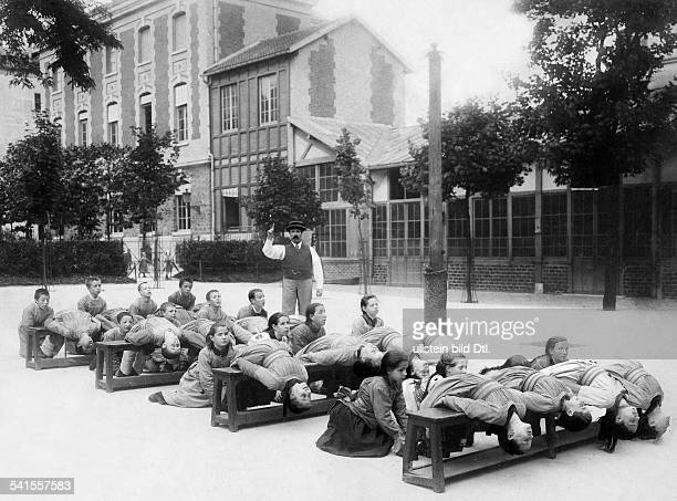 France Ile de France France Ecole Braille asylum and school for blind children probably in SaintMande gymnastic lesson at the schoolyard Published by...