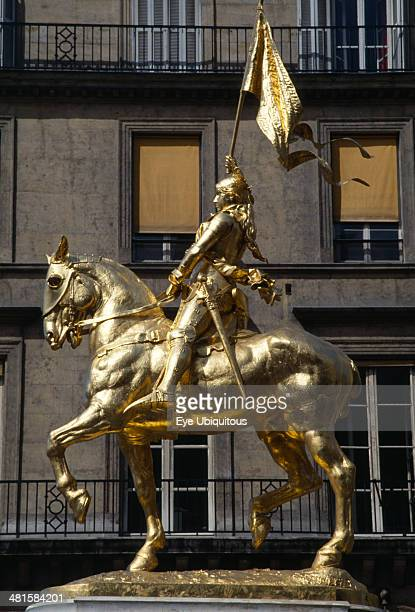 France Ile de France Paris Gilded golden bronze statue of Joan of Arc on horseback carrying her standard by Fremiet in Place des Pyramids in the...