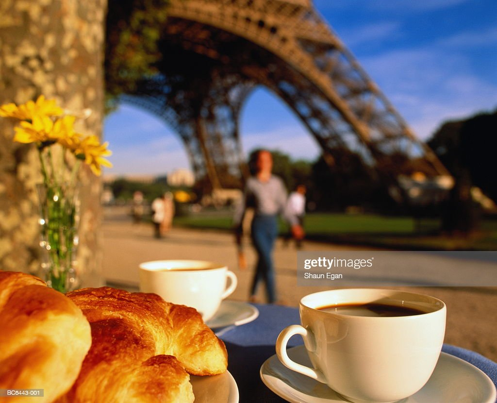 France, Ile-de-France, Paris, coffee and croissants on table : Stock Photo