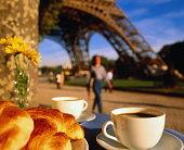France, Ile-de-France, Paris, coffee and croissants on table