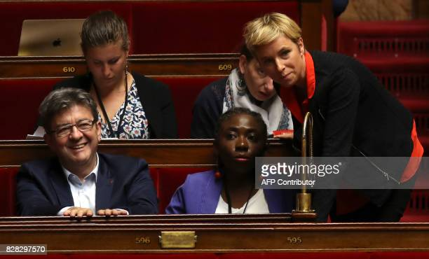 France Insoumise Leader JeanLuc Mélenchon speaks with colleagues Danièle Obono and Clémentine Autain share a light moment at The National Assembly in...
