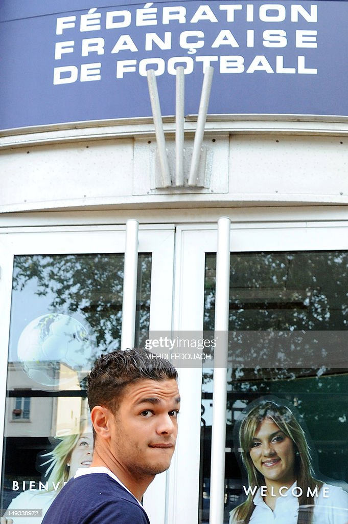 France international footballer Hatem Ben Arfa arrives at the French Football Federation (FFF) headquarters, on July 27, 2012, to appear with France international footballers Samir Nasri, Yann Mvila, and Jeremy Menez before a disciplinary commission of the FFF, to answer for their behaviour during the Euro 2012 tournament. Nasri will answer for a foul-mouthed tirade against journalists after France's Euro 2012 exit, Ben Arfa for a dispute with coach Laurent Blanc in the dressing room after their 2-0 loss to Sweden, Menez for rebukes against captain Hugo Lloris and insulting a referee, and Mvila for returning to the bench during their 2-0 loss against Spain without shaking his hands of Blanc and substitute Olivier Giroud. The four risk being suspended for bringing French football into disrepute just two years after the fiasco of France's 2010 World Cup campaign during which another four players Nicolas Anelka, Patrice Evra, Franck Ribery and Jeremy Toulalan received varying suspensions for their behaviour.