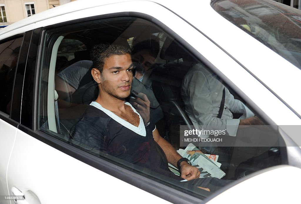 France international footballer Hatem Ben Arfa arrives at the French Football Federation (FFF) headquarters, on July 27, 2012, to appear with France international footballers Samir Nasri, Yann Mvila, and Jeremy Menez before a disciplinary commission of the FFF, to answer for their behaviour during the Euro 2012 tournament. Nasri will answer for a foul-mouthed tirade against journalists after France's Euro 2012 exit, Ben Arfa for a dispute with coach Laurent Blanc in the dressing room after their 2-0 loss to Sweden, Menez for rebukes against captain Hugo Lloris and insulting a referee, and Mvila for returning to the bench during their 2-0 loss against Spain without shaking his hands of Blanc and substitute Olivier Giroud. The four risk being suspended for bringing French football into disrepute just two years after the fiasco of France's 2010 World Cup campaign during which another four players Nicolas Anelka, Patrice Evra, Franck Ribery and Jeremy Toulalan received varying suspensions for their behaviour. AFP PHOTO / MEHDI FEDOUACH