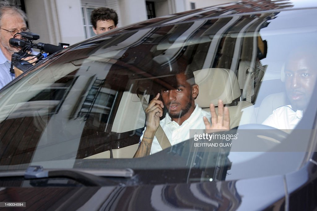 France international footballer Yann Mvila, leaves the French Football Federation (FFF) headquarters, on July 27, 2012, after appeared before a disciplinary commission of the FFF, with France international footballers Samir Nasri, Hatem Ben Arfa and Jeremy Menez to answer for their behaviour during the Euro 2012 tournament. Nasri will answer for a foul-mouthed tirade against journalists after France's Euro 2012 exit, Ben Arfa for a dispute with coach Laurent Blanc in the dressing room after their 2-0 loss to Sweden, Menez for rebukes against captain Hugo Lloris and insulting a referee, and Mvila for returning to the bench during their 2-0 loss against Spain without shaking his hands of Blanc and substitute Olivier Giroud. The four risk being suspended for bringing French football into disrepute just two years after the fiasco of France's 2010 World Cup campaign during which another four players Nicolas Anelka, Patrice Evra, Franck Ribery and Jeremy Toulalan received varying suspensions for their behaviour.