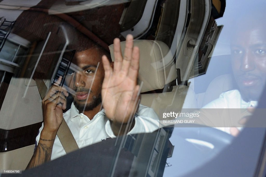 France international footballer Yann Mvila (L), leaves the French Football Federation (FFF) headquarters, on July 27, 2012, after appeared before a disciplinary commission of the FFF, with France international footballers Samir Nasri, Hatem Ben Arfa and Jeremy Menez to answer for their behaviour during the Euro 2012 tournament. Nasri will answer for a foul-mouthed tirade against journalists after France's Euro 2012 exit, Ben Arfa for a dispute with coach Laurent Blanc in the dressing room after their 2-0 loss to Sweden, Menez for rebukes against captain Hugo Lloris and insulting a referee, and Mvila for returning to the bench during their 2-0 loss against Spain without shaking his hands of Blanc and substitute Olivier Giroud. The four risk being suspended for bringing French football into disrepute just two years after the fiasco of France's 2010 World Cup campaign during which another four players Nicolas Anelka, Patrice Evra, Franck Ribery and Jeremy Toulalan received varying suspensions for their behaviour.