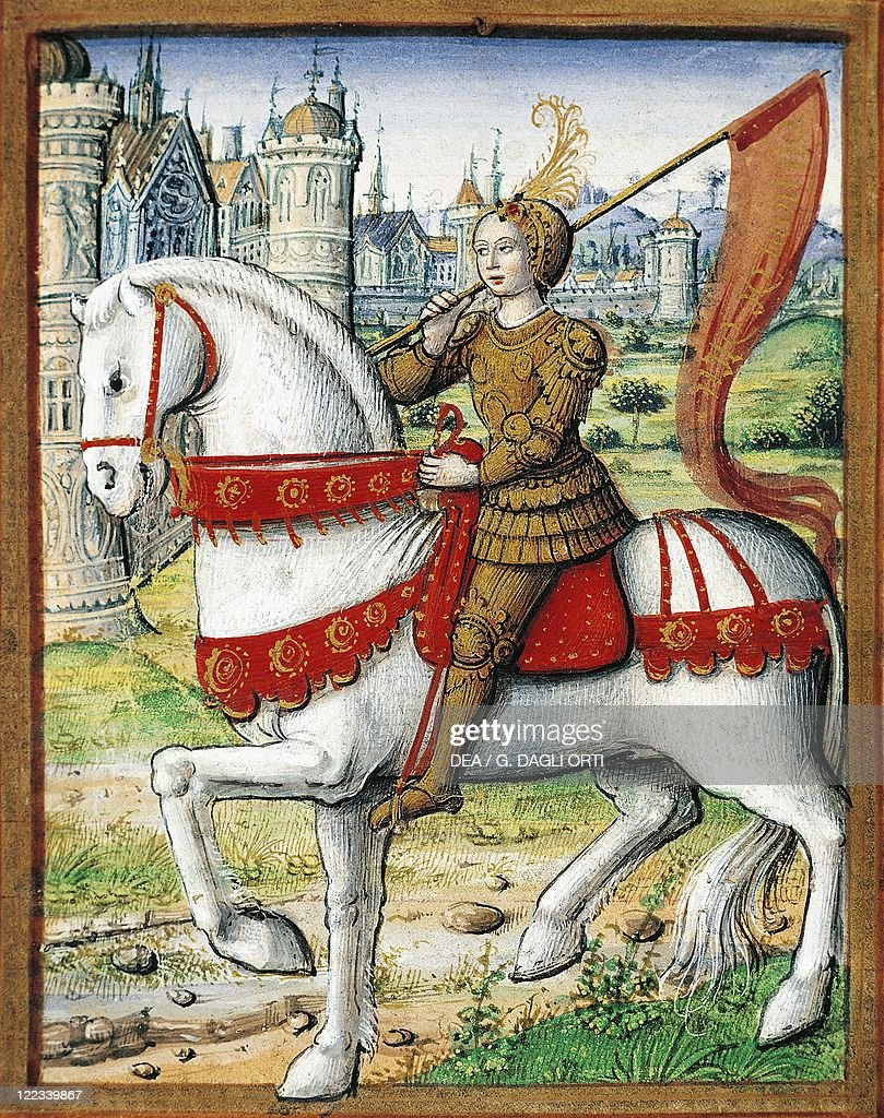 France, Joan of Arc, miniature, circa 1505, From the manuscipt Lives of Famous Women, by Antoine Dufour.