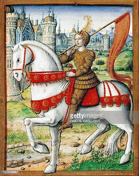 France Joan of Arc miniature circa 1505 From the manuscipt Lives of Famous Women by Antoine Dufour