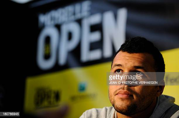 France JoWilfried Tsonga gives a press conference on the first day of the ATP Moselle Open on September 16 2013 in Metz eastern France AFP PHOTO /...