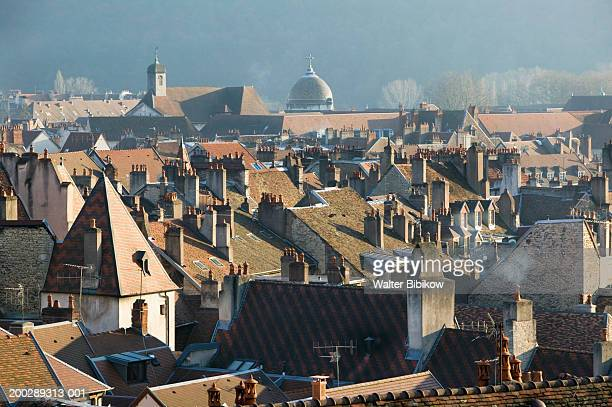 France, Jura, Doubs, Besancon, rooftops and church dome
