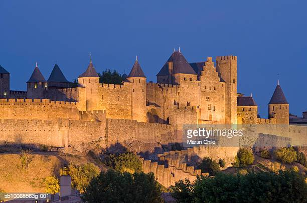 France, Languedoc, Carcassonne, castle walls illuminated at night