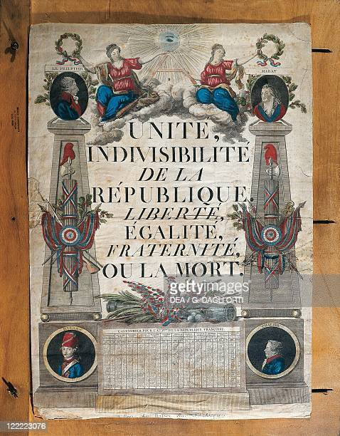 France Late 18th century French Revolution Republican calendar year II of the Republic Unity Indivisibility of the Republic Liberty Equality...