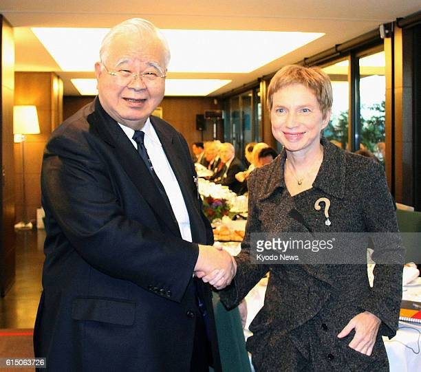 PARIS France Laurence Parisot head of the French confederation of business enterprises and Hiromasa Yonekura chairman of the Japan Business...