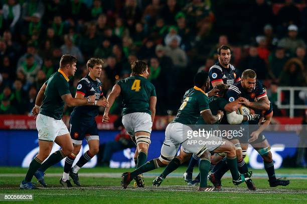 France lock Romain Taofifenua defends the ball during the third rugby union Test match between South Africa and France at the Emirates Ellis park...