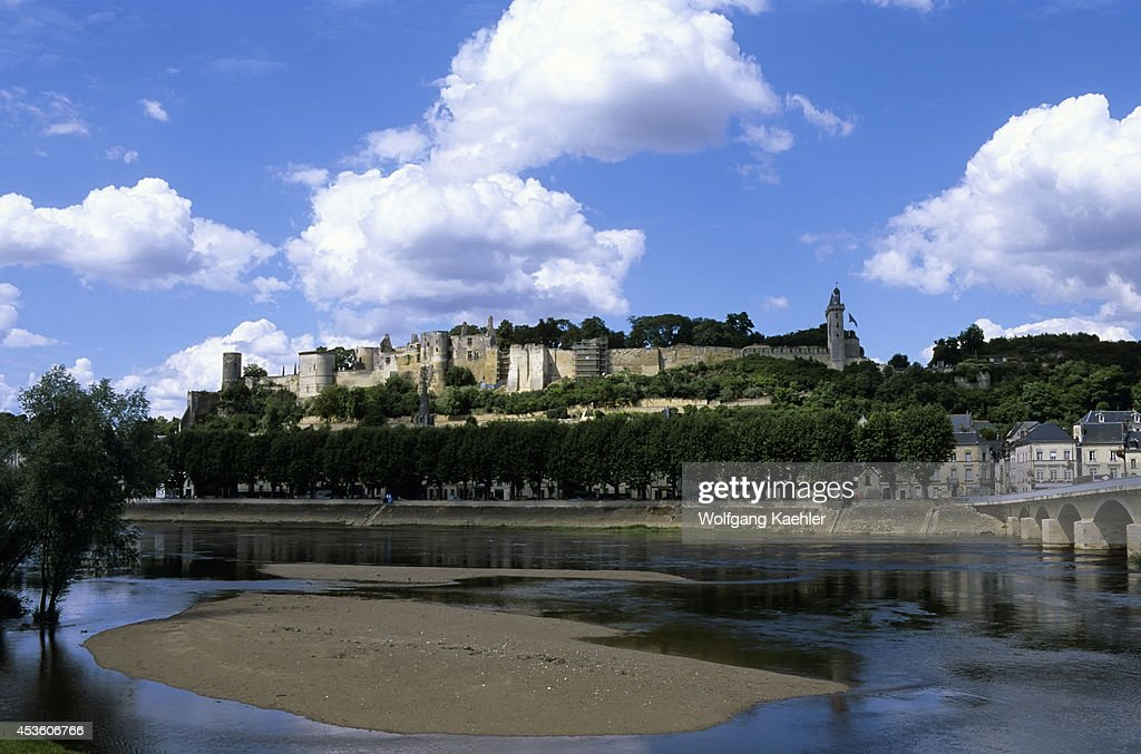 France Loire Region Chinon Vienne River View Of City