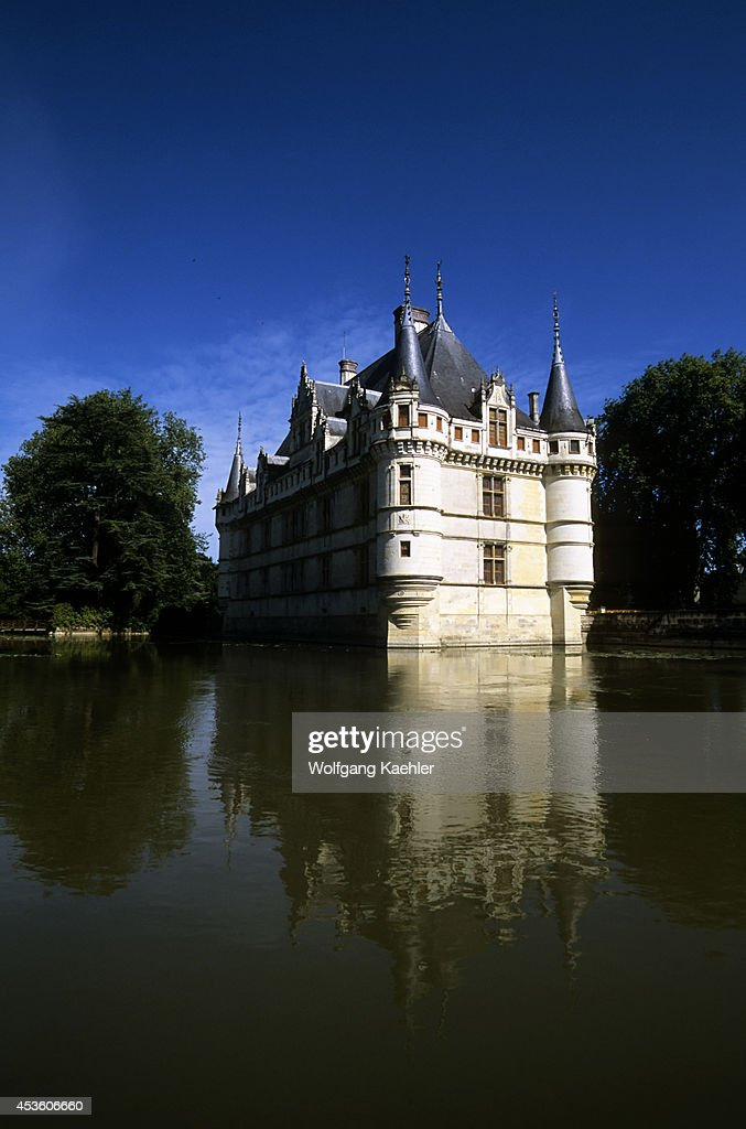 France Loire Region Near Chinon Azaylerideau Chateaux Castle With Moat