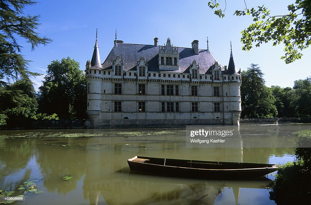 France Loire Region Near Chinon Azaylerideau Chateaux Castle With Moat Boat