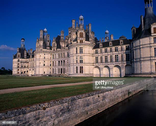 France Loire Valley LoireetCher Chambord Palace seen from across water and formal gardens