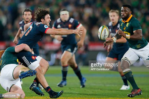 France loose head prop Xavier Chiocci looses the ball during the third rugby union Test match between South Africa and France at the Emirates Ellis...