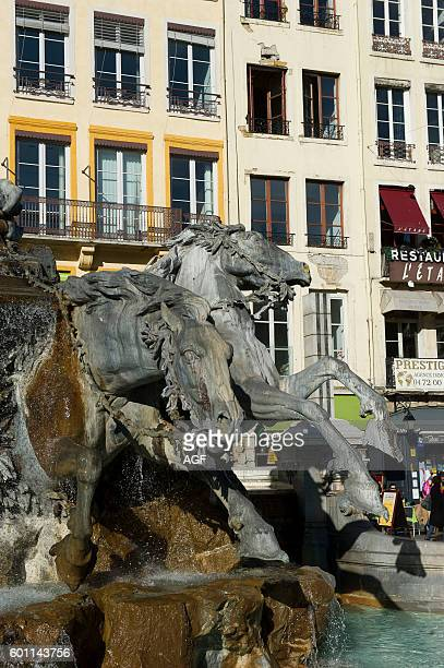 France Lyon a city crossed by two rivers Saone and Rhone region of AuvergneRhoneAlpes Bartholdi fountain in Terraux square and Town Hall