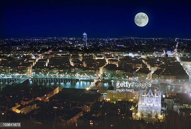France, Lyon, View of the town by night with full