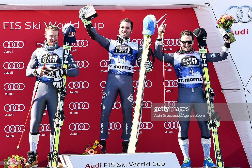 France make a clean sweep with Thomas Fanara taking 1st place Alexis Pinturault taking 2nd place and Mathieu Faivre taking 3rd place during the Audi...