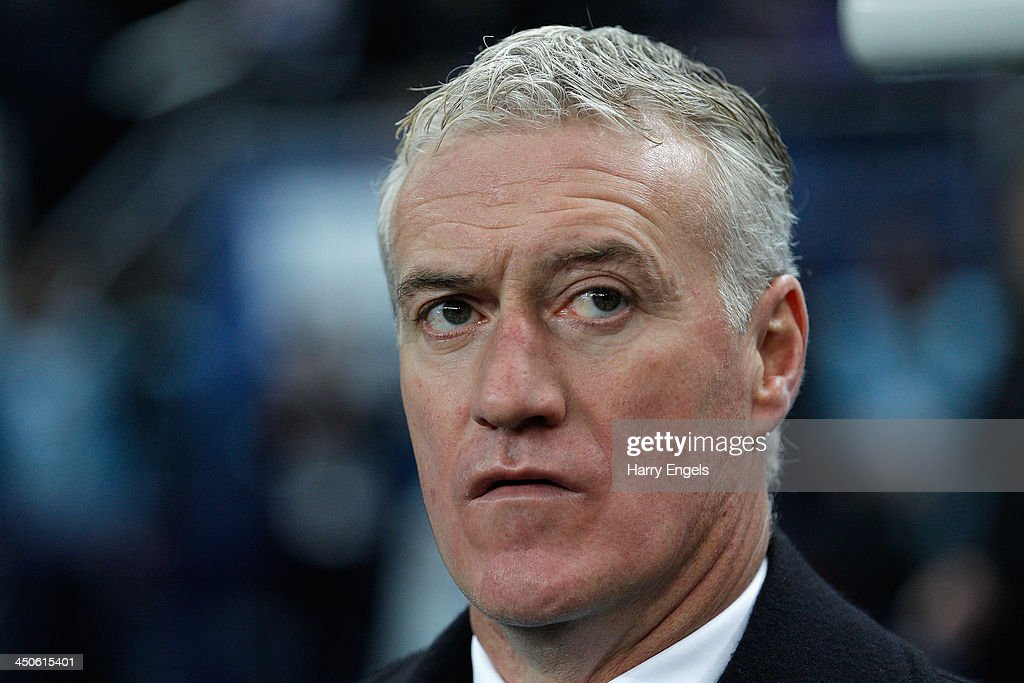 France manager <a gi-track='captionPersonalityLinkClicked' href=/galleries/search?phrase=Didier+Deschamps&family=editorial&specificpeople=213607 ng-click='$event.stopPropagation()'>Didier Deschamps</a> looks on prior to the FIFA 2014 World Cup Qualifier 2nd Leg Playoff between France and Ukraine at the Stade de France on November 19, 2013 in Paris, France.