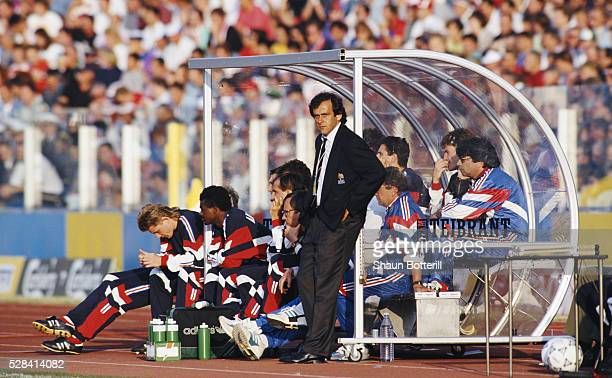 France manager Michel Platini looks on during his final game in charge at the 1992 European Championships match against Denmark on June 17 in Malmo...