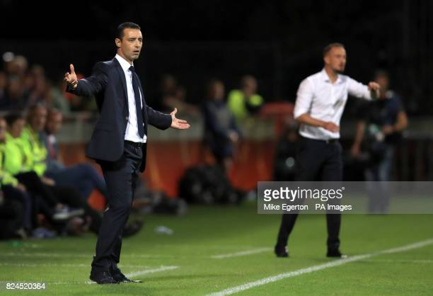 France Manager Olivier Echouafni gestures on the touchline during the UEFA Women's Euro 2017 quarter final match at the Stadion De Adelaarshorst...