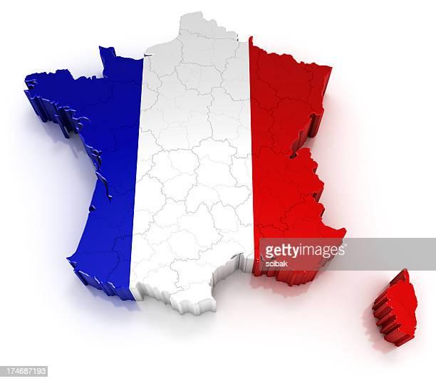 France Carte avec drapeau