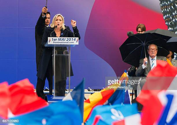 PARIS France Marine Le Pen leader of the French farright National Front party gives a speech at Place de l'Opera in Paris on May 1 2014 Her father...