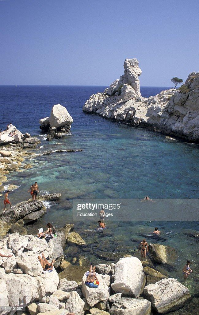 France Marseilles Bathers Along Sugiton Calanque