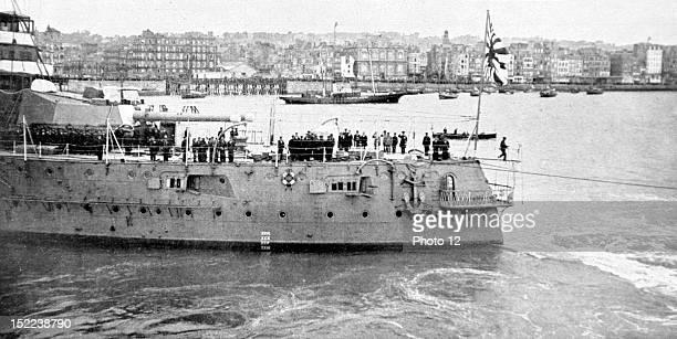 France May 30 Prince Hirohito of Japan visiting France The Japanese squadron battleship 'Katori' entering the harbor of Le Havre