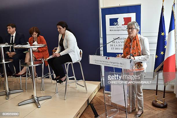 France Mediation President Chantal Uytterhaegen delivers a speech flanked by French Minister of Urban Affairs Youth and Sport Patrick Kanner and...