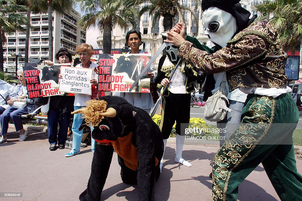 Members of the People for the Ethical Treatment of Animals (PETA), one in bull costume being 'killed' by a demonstrator dressed as a matador in a death mask, demonstrate to urge residents and visitors to the Cannes film festival to stay away from the region's bullfights, 20 May 2004.