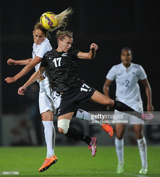 France midfielder Kheira Hamraoui vies for the ball with New Zealand forward Hannah Wilkinson during the Women's friendly football match France...